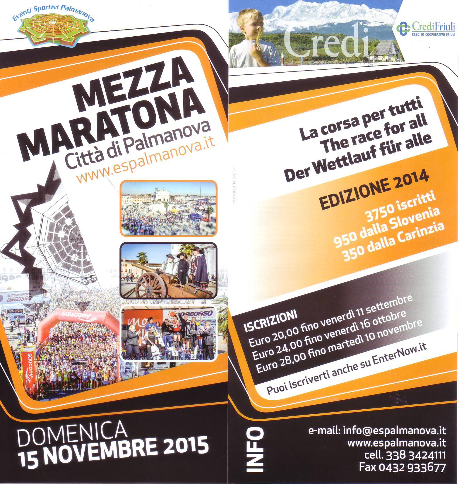 volantino Maratonina Palmanova 2015